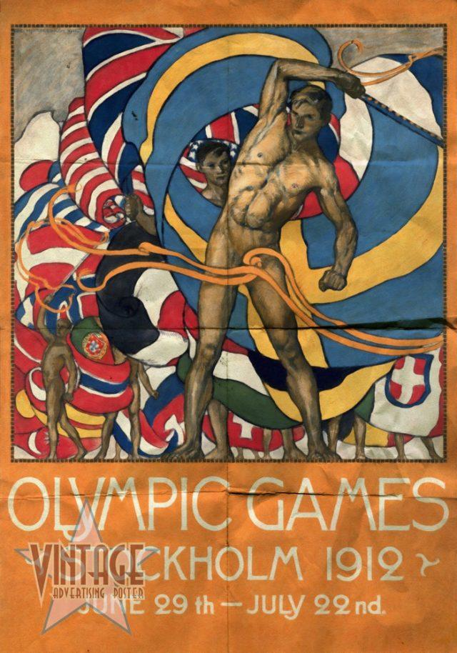 Olympics Games Stockholm 1912 - Folded Vintage Poster
