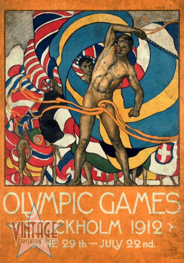 Olympics Games Stockholm 1912 - Vintagelized Restored Vintage Poster