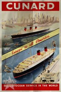Cunard - Europe to all America - Folded