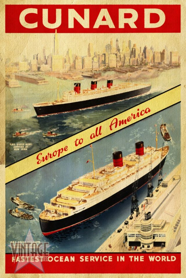 Cunard - Europe to all America - Vintagelized