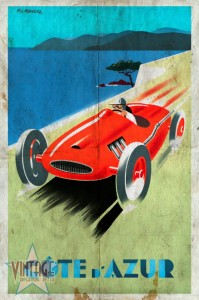 Riviera - Cote d'Azur - Vintage Poster - Folded