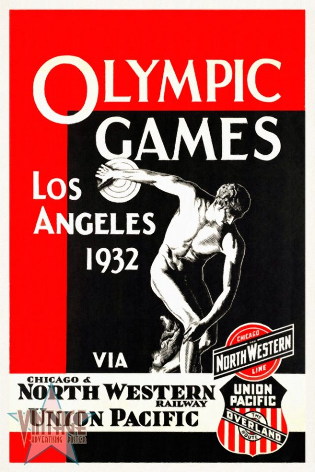 Olympics Games Los Angeles 1932 - Vintage Poster - Restored
