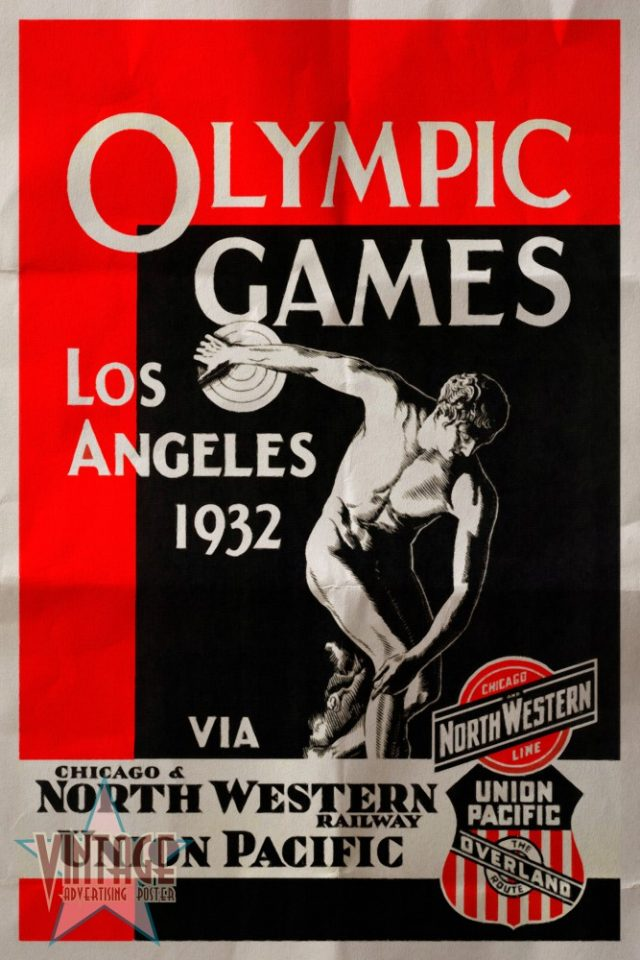 Olympics Games Los Angeles 1932 - Vintage Poster - Folded