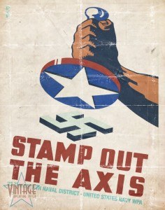 Stamp Out The Axis - Vintage Poster - Foded