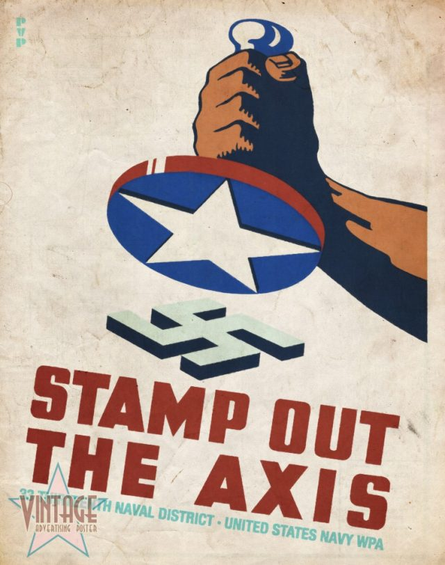 Stamp Out The Axis - Vintage Poster - Vintagelized