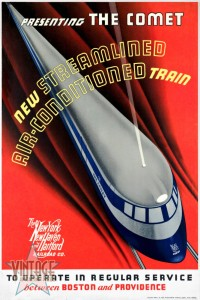 The Comet New Haven Train - Vintage Poster - Restored