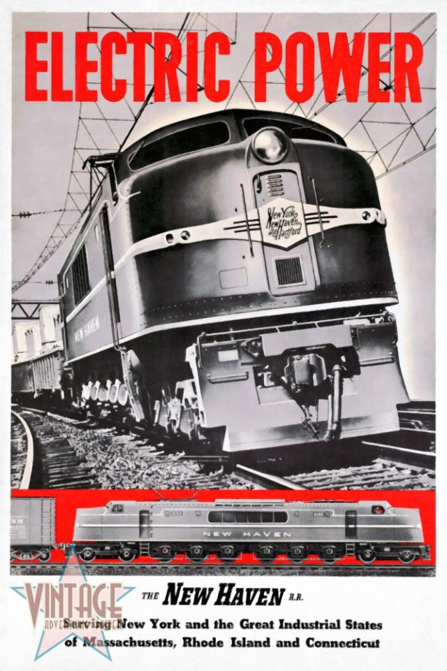 New Haven Electric Power Train - Vintage Poster - Restored