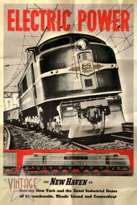 New Haven Electric Power Train - Vintage Poster - Folded