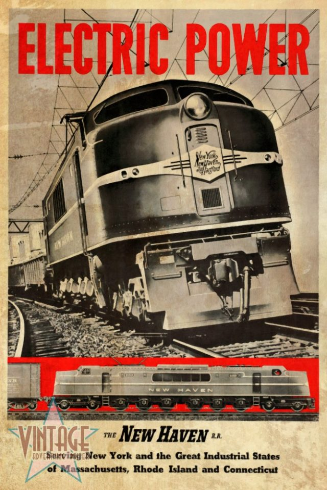 New Haven Electric Power Train - Vintage Poster - Vintagelized