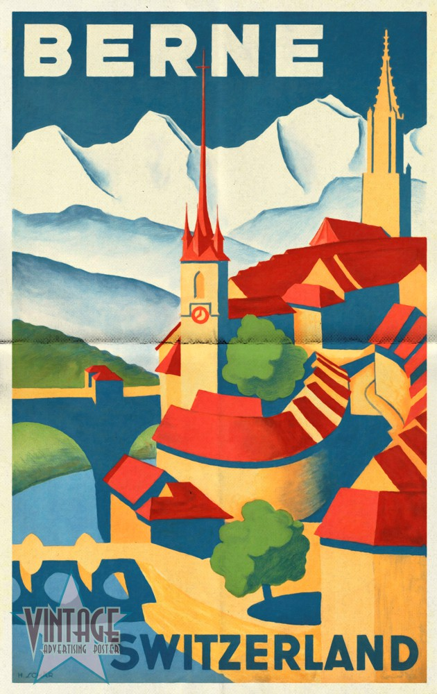 Berne Switzerland - Vintage Poster - Folded