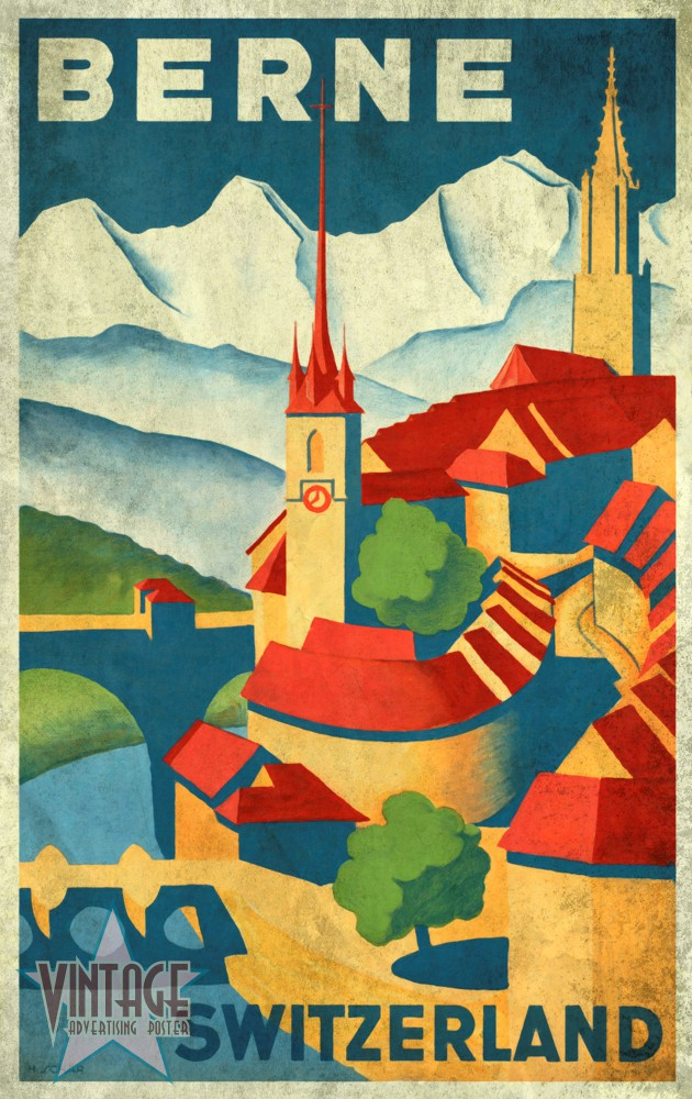 Berne Switzerland - Vintage Poster - Vintagelized