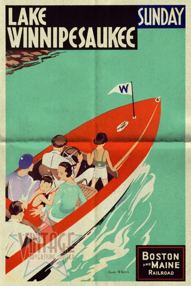 Lake Winnipesaukee - Vintage Poster - Folded