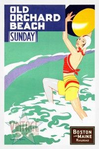 Old Orchard Beach - Vintage Poster - Restored
