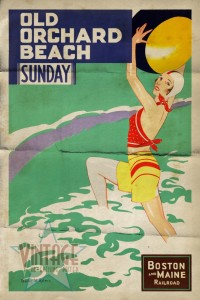 Old Orchard Beach - Vintage Poster - Folded
