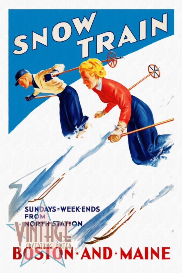 Snow Train - Vintage Poster - Restored