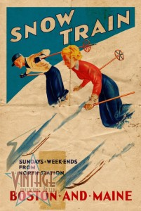Snow Train - Vintage Poster - Folded