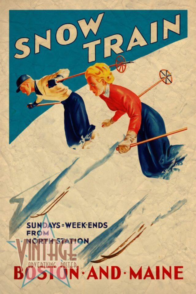 Snow Train - Vintage Poster - Vintagelized