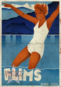 Flims - Switzerland - Vintage Poster - Folded