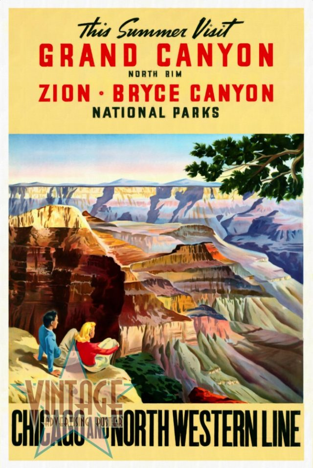 Visit Grand Canyon - Vintage Poster - Restored