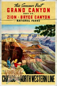 Visit Grand Canyon - Vintage Poster - Folded