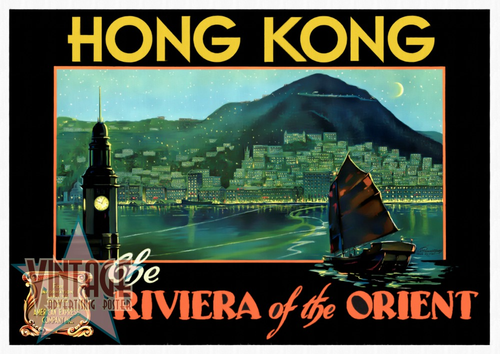 Hong Kong The Riviera of the Orient - Vintage Poster - Restored