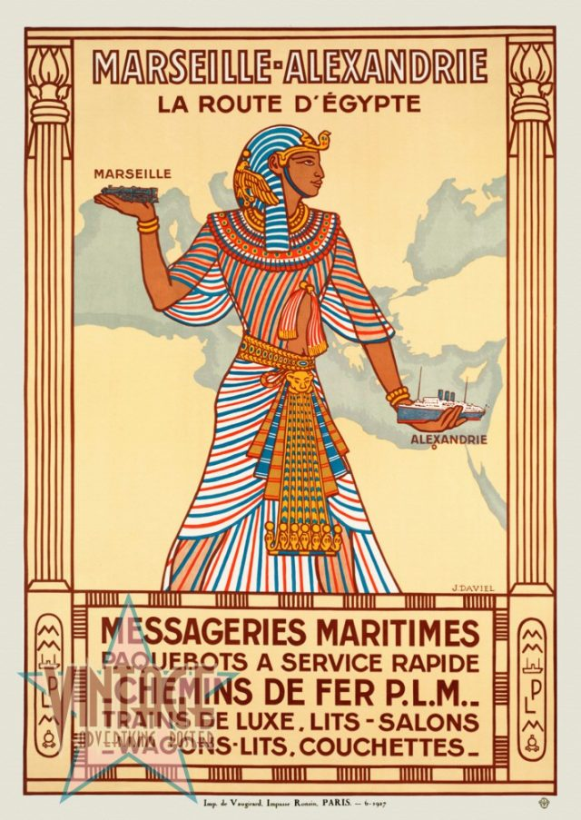 Marseille-Alexandrie La Route D'Egypte - Vintage Poster - Restored