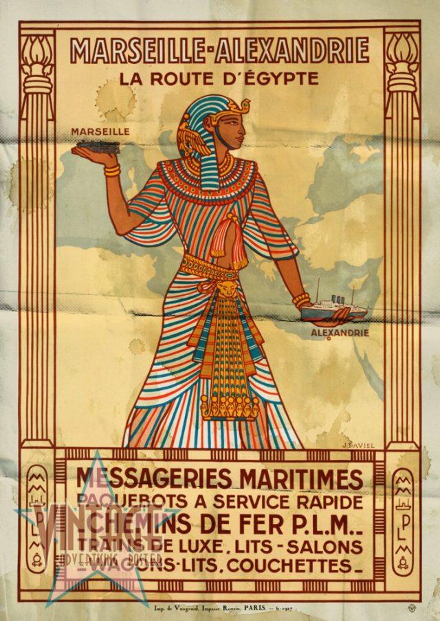 Marseille-Alexandrie La Route D'Egypte - Vintage Poster - Folded