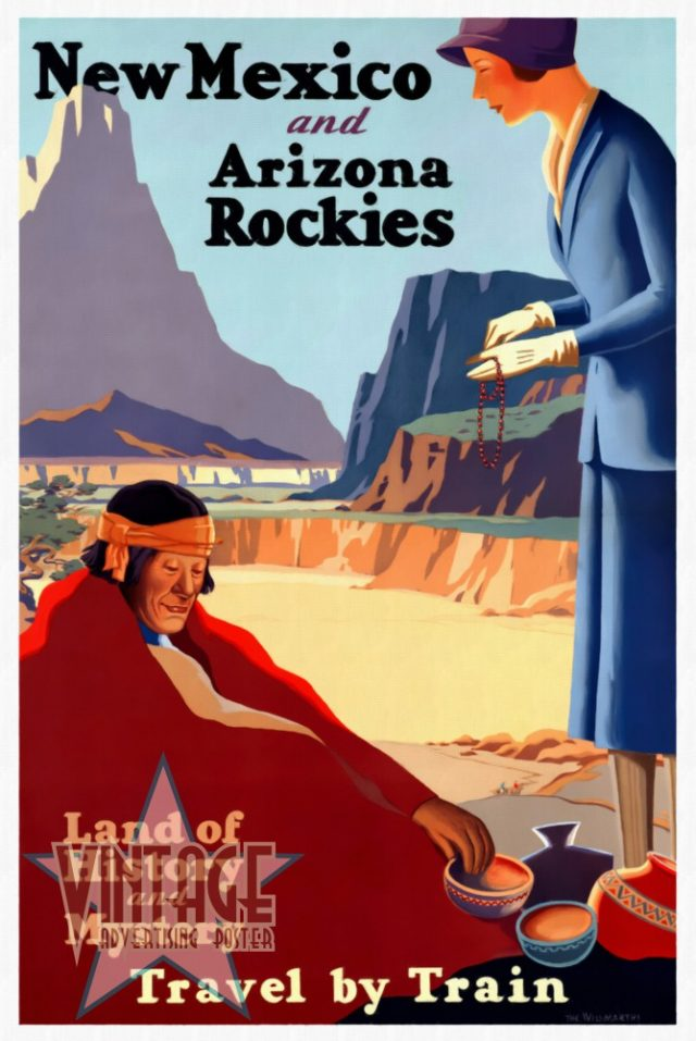 New Mexico and Arizona Rockies - Vintage Poster - Restored