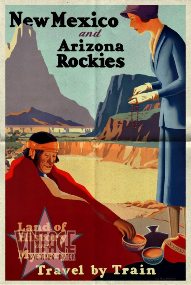 New Mexico and Arizona Rockies - Vintage Poster - Folded