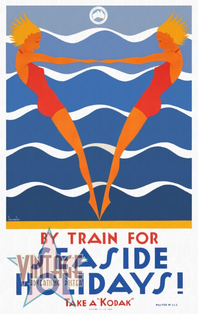 Seaside Holidays Australia - Vintage Poster - Restored