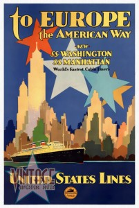 To Europe the American Way - Vintage Poster - Restored