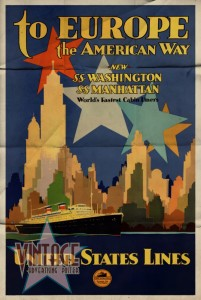 To Europe the American Way - Vintage Poster - Folded