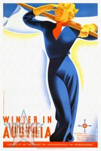 Winter in Austria - Vintage Poster - Restored