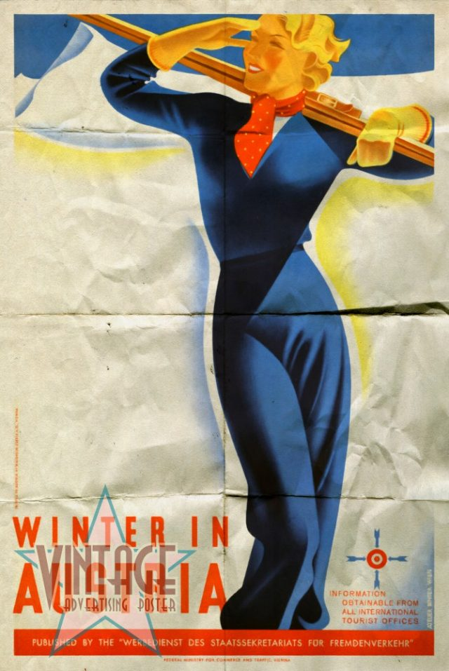 Winter in Austria - Vintage Poster - Folded