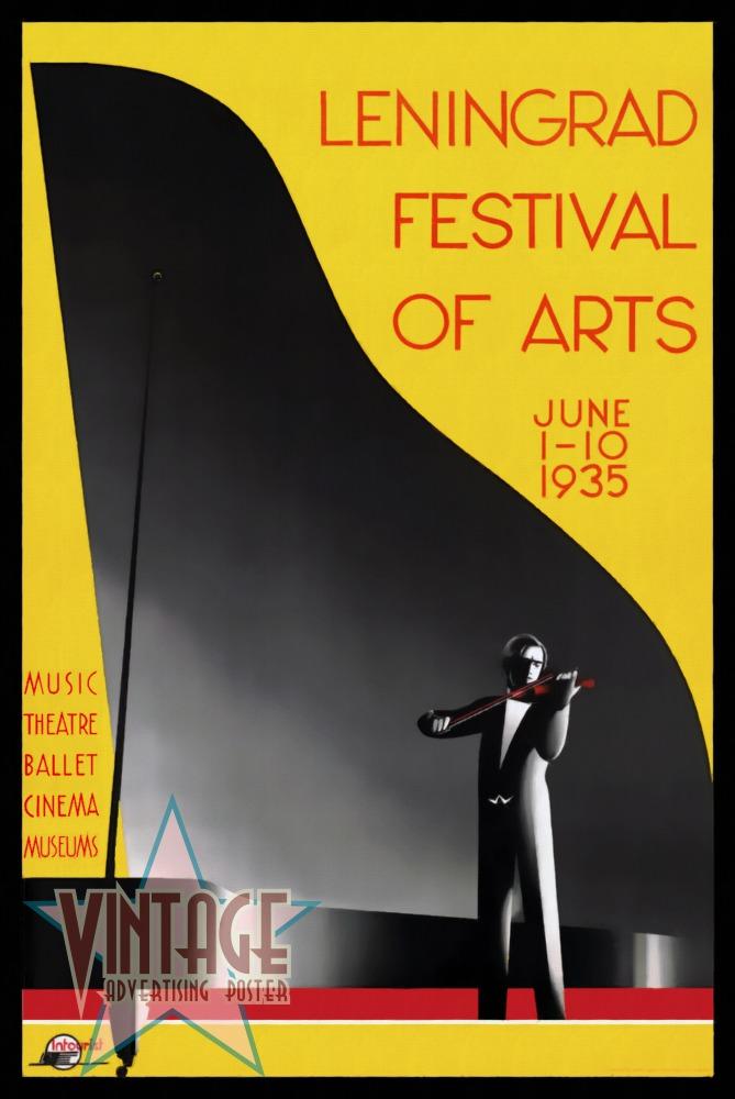 Leningrad Festival of Arts - Vintage Poster - Restored