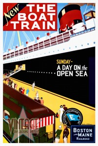 New The Boat Train - Vintage Poster - Restored