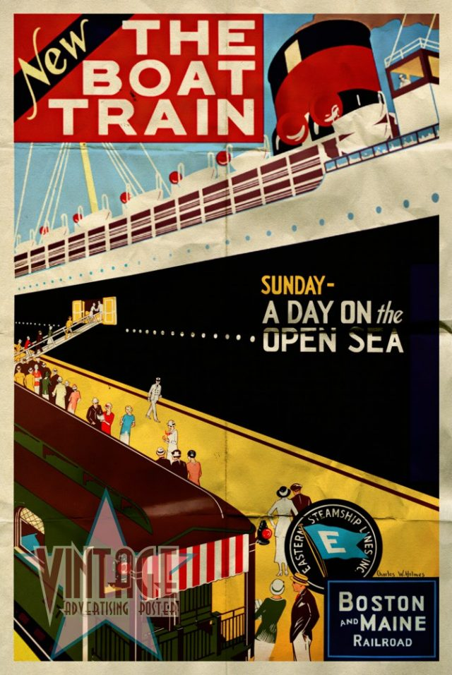 New The Boat Train - Vintage Poster - Folded